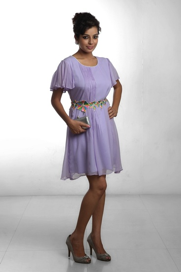 Mauve Pintuck Dress
