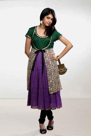 Colorful Cotton Anarkali with Printed Jacket