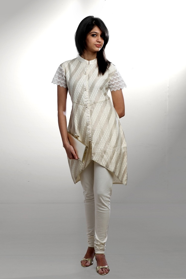 Cream Brocade Kurta