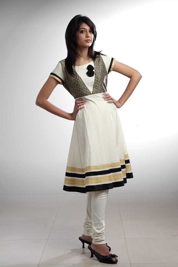 Black & Cream flared kurta