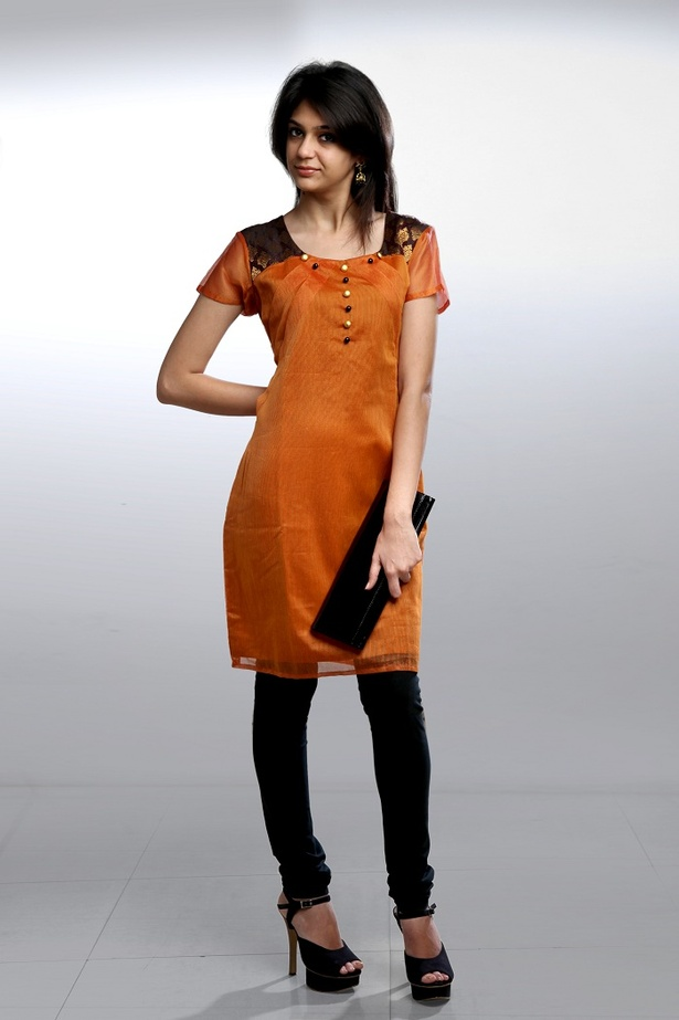 Orange Side Pleat Kurta